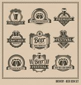 stock photo of draft  - Retro Beer Labels and Icons  - JPG
