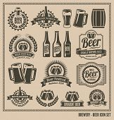 Beer icon set - labels, posters, signs, banners, vector design symbols.