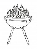Sketch Of The Grill With Big Flames
