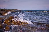 picture of mendocino  - Waves along the rocky shore beautiful lining - JPG