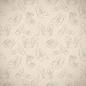 Seamless woman's stylish shoes sketch pattern