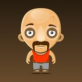 Bald Man Cartoon Character with Mustache. Vector