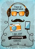 Hipster poster with vintage accessories and items