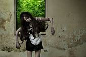 stock photo of terrific  - The Scary Maid ghost story in haunted house - JPG