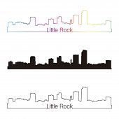 Little Rock Skyline Linear Style With Rainbow