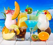 Tropical Cocktails With Fresh Fruits