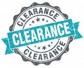 Clearance Turquoise Grunge Retro Vintage Isolated Seal