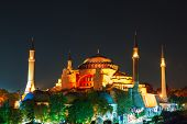 Hagia Sophia with lantern light on blue sky
