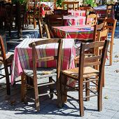 Tables And Chairs In A Traditional Greek Tavern