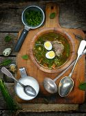 .russian Traditional Nettle Soup With Eggs And Sour Cream