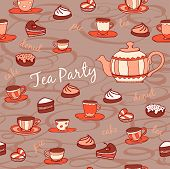 Tea party. Seamless pattern