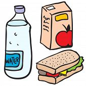 water, apple juice and sandwich cartoon doodle