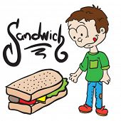 little boy looking at sandwich cartoon doodle