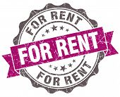 For Rent Violet Grunge Retro Vintage Isolated Seal