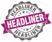 Headliner Violet Grunge Retro Vintage Isolated Seal