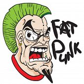 fat punk face with green mohawk cartoon