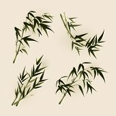 bamboo leaves, vectorized oriental style brush painting