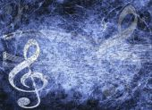Blue Musical Background In Grunge Style