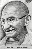 stock photo of gandhi  - Macro image of  Indian father of nation Mahatma gandhi - JPG