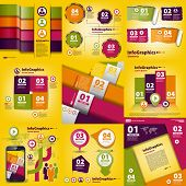 Infographics Set Of Nine Pieces On Business Yellow
