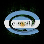 e-mail address AT symbol with Argentina flag on hex illustration