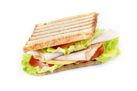picture of nic  - Sandwiches with chicken breast salad cheese and tomatoes isolated on white - JPG