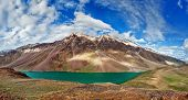 Panorama of mountain lake Chandra Tal in Himalayas. Himachal Pradesh, India