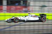 SINGAPORE - SEPTEMBER 20:  Valterri Botas of Finland in the Williams Mercedes taking up 8th position in the qualifying round of the Singapore Grand Prix on SEPT 20, 2014