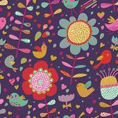 Bright seamless pattern with cute birds and flowers in violet colors. Seamless pattern can be used for wallpapers, pattern fills, web page backgrounds, surface textures. Gorgeous seamless background