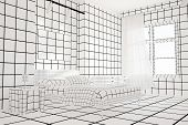 Checkered black and white bedroom with bed and furniture