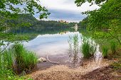 stock photo of bavarian alps  - Idyllic lake scenery in Bavarian Alps - JPG
