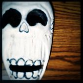 Instagram filtered image of a Day of the Dead skull