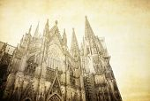 Vintage view of Gothic Cathedral in Cologne, Germany