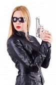 stock photo of mobsters  - Woman with gun isolated on the white - JPG