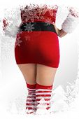 Mid section of sexy santa girl against christmas frame