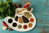 Painting palette with various spices and herbs, on color wooden background