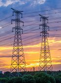 picture of utility pole  - Electric tower at sunset - JPG