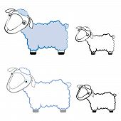 illustration of funny sheep in different styles