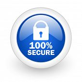secure blue glossy icon on white background