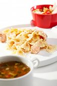 European Lunch - Caesar Salad with Chicken Breast, Soup, Pasta Farfalle with Salmon