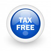 tax free blue glossy icon on white background