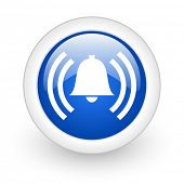 alarm blue glossy icon on white background