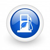 biofuel blue glossy icon on white background