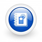 phonebook blue glossy icon on white background