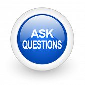 ask questions blue glossy icon on white background