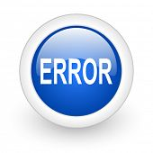 error blue glossy icon on white background