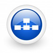 database blue glossy icon on white background