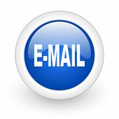 email blue glossy icon on white background