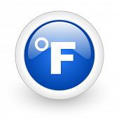 fahrenheit blue glossy icon on white background
