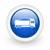 truck blue glossy icon on white background